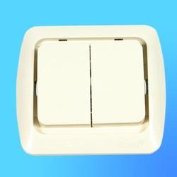 """Выключатель 2 СП """"Tuna"""" крем, без декор.вставки 5020300202 (El-Bi)"""