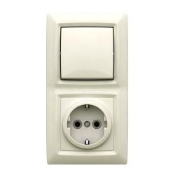 Блок: выключатель 1 клавишный + розетка с заземлением, цвет белый