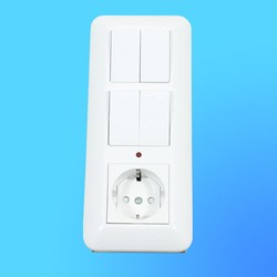 Блок БК2ВР-007Б, белый (евророзетка+2-кл.выкл.с инд.+2-кл.выкл.) (Wessen)