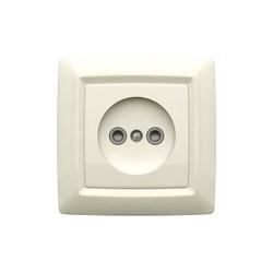 Розетка одноместная скрытой установки с защитными шторками, цвет белый