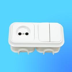 Блок 2В-РЦ-004 СП (2-кл.выкл.+ розетка) АБС с монтажной коробкой (Пинск)
