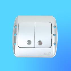 """Выключатель 2 СП """"Zirve"""" хром, с бок.декор.вставкой, со свет.инд.5011010203 (El-Bi)"""