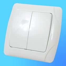 """Выключатель 2 СП """"CARMEN"""" белый, 90561002 (Vi-Ko)"""