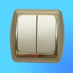 Выключатель 2 СП С56-003 АБС метал.,крем./зол.со световым индикатором (Ростов)