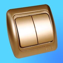 """Выключатель 2 СП """"Tuna"""" золото , с декор.вставкой 5021313202 (El-Bi)"""