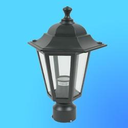 Светильник садово-парковый 4103 шестигр. конструкция, 60Вт Е27 IP33 336х200 (металл+стекло) черный