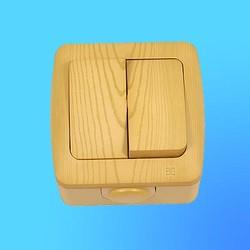 """Выключатель 2 ОП """"Alsu"""" ольха, брызгозащищенный 5040700202 (El-Bi)"""