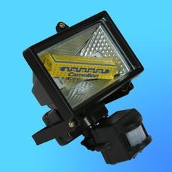 Прожектор галогенный Camelion 0102 FL-150W S черный, с датчиком, в комплекте с лампой, IP 44