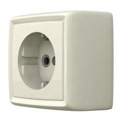 Розетка одноместная открытой установки с заземлением, цвет белый