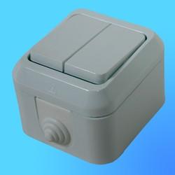 Выключатель 2 ОП белый, влагозащ.18301(Makel)