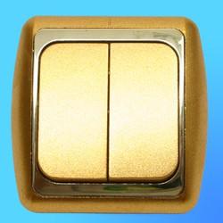 Выключатель 2 СП С56-002 АБС метал,зол./зол. рамка (Ростов)
