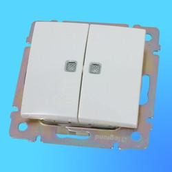 """Выключатель 2 СП """"Valena"""" со световым индикатором  без рамки, белый 774428 (Legrand)"""