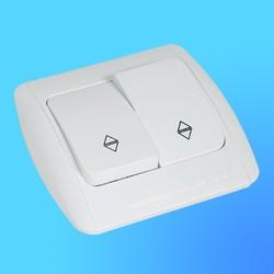 """Выключатель проходной 2 СП """"Zirve"""" белый, c бок.декор.вставкой 5010202211 (El-Bi)"""