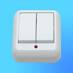 """Выключатель 2 ОП А56-007М с металл.монтаж. пластиной, белый, со свет. индикатором,""""Прима"""" (Wessen)"""