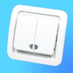 """Выключатель 2 СП """"Мимоза"""" белый, без декор.вставки со световым индикатором 22023  (Makel)"""