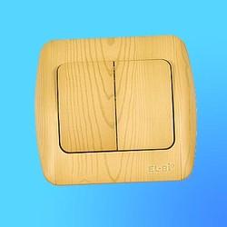 """Выключатель 2 СП """"Zirve"""" ольха, с бок.вставками, 5010700202 (EL-Bi)"""
