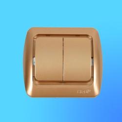 """Выключатель 2 СП """"Tuna"""" золото , без декор.вставки 5021300202 (El-Bi)"""