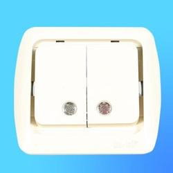 """Выключатель 2 СП """"Tuna"""" крем, без декор.вставки со световым индикатором 5020300203 (El-Bi)"""