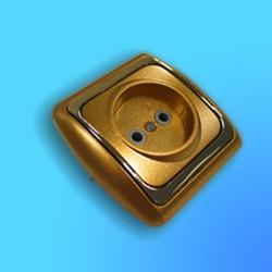 Розетка евро 1 СП РС16-003 АБС металл,зол/зол. рамка (Ростов)