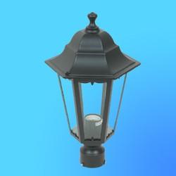 Светильник садово-парковый 4303 шестигр. конструкция, 100Вт Е27 IP33 395х225 (металл+стекло) черный