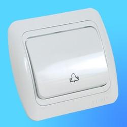 """Кнопка звонковая СП """"Tuna"""" белая, с декор.вставкой 5020202207 (EL-Bi)"""