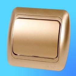 """Выключатель 1 СП """"Tuna"""" золото , с декор.вставкой 5021313200 (El-Bi)"""