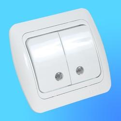 """Выключатель 2 СП """"Tuna"""" белый, с декор.вставкой со свет. инд. 5020202203 (El-Bi)"""