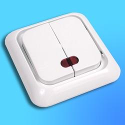 """Выключатель 2 СП """"Жасмин"""" белый, без декор.вставки со световым индикатором 90552050  (VI-KO)"""