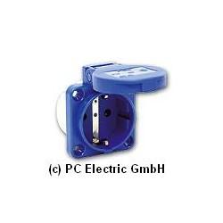 109-0b Розетка встраиваемая синяя, безвинтовые контакты, 2P+E, фланец 50х50, IP54, PCE
