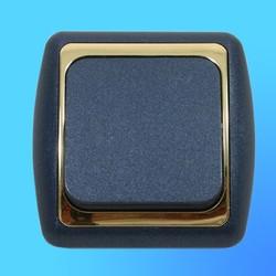 Выключатель 1 СП С16-002 АБС метал.,син../зол. рамка (Ростов)