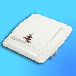 """Выключатель 2 СП """"CARMEN"""" крем, со световым индикатором 90562050  (VI-KO)"""