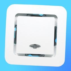 """Выключатель 1 СП """"Lillium"""" белый, без декор.вставки со световым индикатором 71021 (Makel)"""