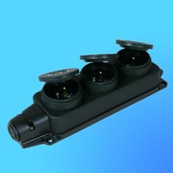 Розетка тройная с загл. каучук 2Р+Е 1*16А 220-240В 31.01.308.0300(Т-Пласт)IP44