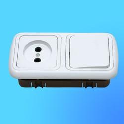 """Блок В-РЦ-533 СП (1-кл.выкл.+розетка) АБС с белой рамкой """"Гармония люкс"""" (Мин)"""