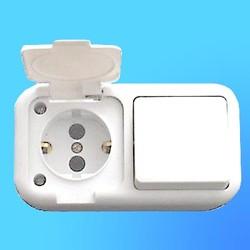Блок В-РЦ-207 ОП (1-кл.выкл.+евророзетка с крышк.,бр-защ.) (Мин)