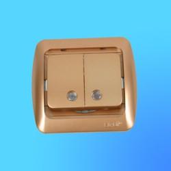 """Выключатель 2 СП """"Tuna"""" золото , без декор.вставки, со свет. индик. 5021300203 (El-Bi)"""