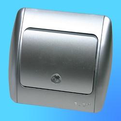 """Выключатель 1 СП """"Zirve"""" хром , без бок.декор.вставок, со свет.инд., 5011000201 (El-Bi)"""