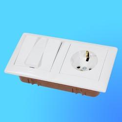 """Блок 3В-РЦ-695 (3-кл.выкл.+розетка з/к) АБС бел. """"Стиль"""" (Мин)"""