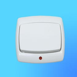 """Выключатель проходной 1 СП ВС6У-120 белый, со световым индикатором, """"Рондо"""" (Wessen)"""