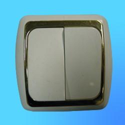 Выключатель 2 СП С56-002 АБС бел./зол. рамка (Ростов)