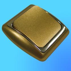 Выключатель 1 СП С16-002 АБС метал,зол./зол. рамка (Ростов)