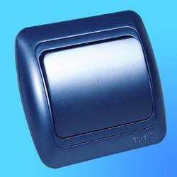 """Выключатель 1 СП """"Tuna"""" синий металлик, с декор.вставкой 5021212200 (El-Bi)"""
