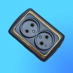 Розетка 2 СП 2РС16-004 АБС метал.син./зол. рамка (Ростов)