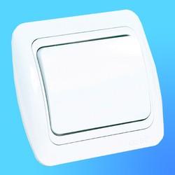 """Выключатель 1 СП """"Tuna"""" белый, с декор.вставк. 5020202200 (El-Bi)"""