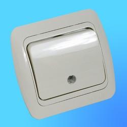 """Выключатель 1 СП """"Tuna"""" крем, с декор.вставкой со свет.инд. 5020303201 (El-Bi)"""