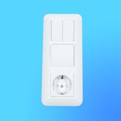 Блок БК2ВР-008А, белый (евророзетка+1-кл.выкл.+2-кл.выкл.) (Wessen)