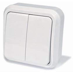 Выключатель двухклавишный открытой установки, цвет белый