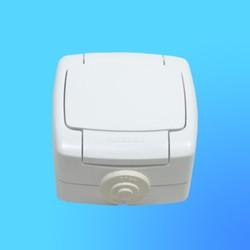 """Розетка 1 ОП РА10-125Б брызгозащищённая, с защ. шторками, белая,""""Рондо""""  (Wessen)"""