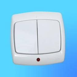 """Выключатель 2 СП С56-051 белый, со световым индикатором, """"Рондо"""" (Wessen)"""