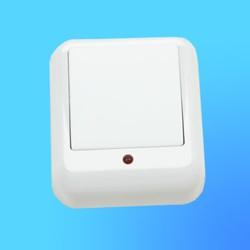 """Выключатель 1 ОП А16-046М, с металл.монтаж. пласт., белый, со световым индикатором,""""Прима"""" (Wessen)"""